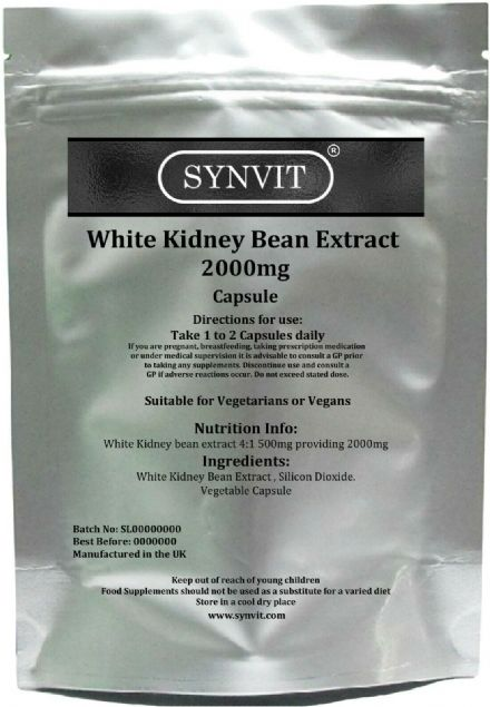 White Kidney Bean Extract 5000mg x 120/360 Capsules; Carb Blocker; Synvit